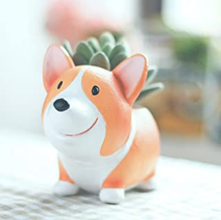 Cute Animal Shaped Succulent Vase Flower Pots for Home Decorations or gifts (Corgi Dog A)