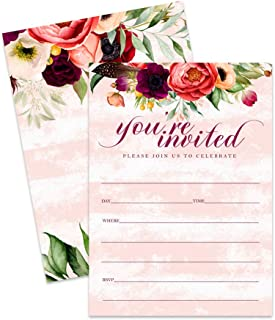 Fall Floral Invitations with Envelopes (25 Pack) Elegant Dinner Parties, Rustic Baby Shower, Engagement Party, Thanksgiving, Autumn Wedding, Fill in Style Invites