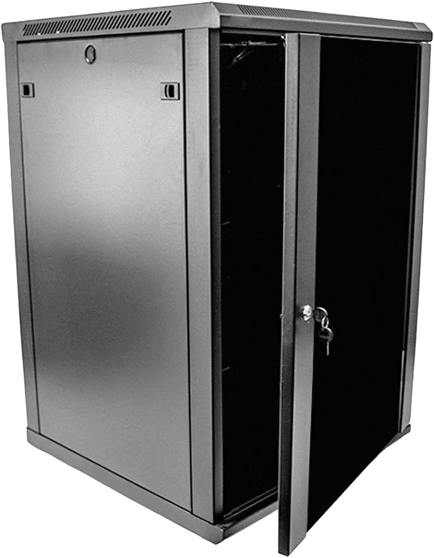1 Set of 18U Network Server Data Cabinet Black Rack Glass Door Lock,Apply to Network Wiring Room,Computer Room,Data Room,Control Center,Home,Office,etc.
