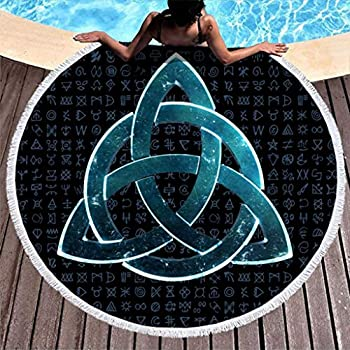 Triquetra Knot Ethnic Tattoo Fantasy Triquetra Viking Print Tie Dye Round Beach Towel with Tassels Colorful Round Fringe Beach Throw Towel Blanket White 59 inch