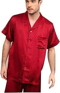 100 Pure Classic Silk Mens/Gentlemens Nightwear/Sleepwear Jacquard Short Sleeve Button-Down Pyjama Suit Setoungewear (Size...