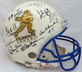 Heisman Trophy Winners Autographed Full Size Authentic White Helmet With 12 Signatures Including Roger Staubach & Bo Jackson Beckett BAS #A77225