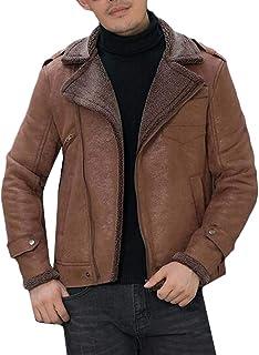 FSSE Men's Quilted Jacket Faux Suede Plus Size Fleece Lined Moto Biker Coat Outwear