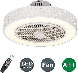 Ventilador de Techo con Lámpara, 36W Creativo Ventilador Invisible LED Lámpara de Techo Control Remoto Regulable Ultra Silencioso Lata Tiempo Ventilador Lámpara