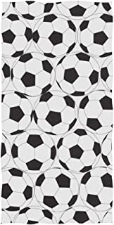 Naanle Black and White Soccer Ball Pattern Sport Design American Football Soft Bath Towel Absorbent Hand Towels Multipurpose for Bathroom Hotel Gym and Spa 30