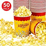 Stock Your Home 32 Oz Popcorn Bucket (50 Count) Paper Popcorn Cups for Movie Theater Concsession Carnival Party - Yellow and Red Reusable Popcorn Containers