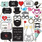Veewon Hochzeit Fotorequisiten Party Foto Booth Requisiten Dekoration Lustige Photobooth Stützen 31pcs befestigt auf den Stick NO DIY Erforderlich