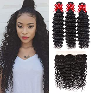 Recifeya hair Brazilian Bundles Deep Wave 3 Bundles with Frontal (24 26 28+20) 100% Unprocessed Virgin Human Hair Bundles Natural Color Can Be Dyed and Bleached
