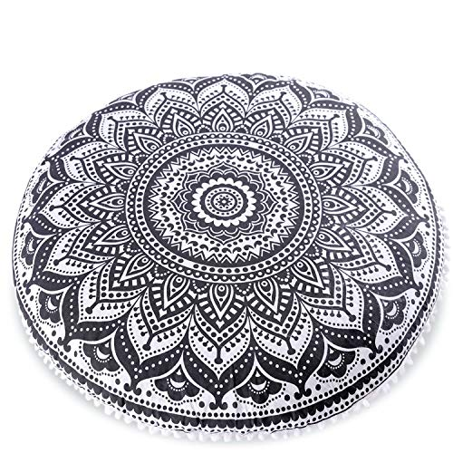 Mandala Life ART Bohemian Yoga Decor Floor Cushion Cover - Insert Included - Round Medition Pillow Case - Hand Printed Organic Cotton Pouf