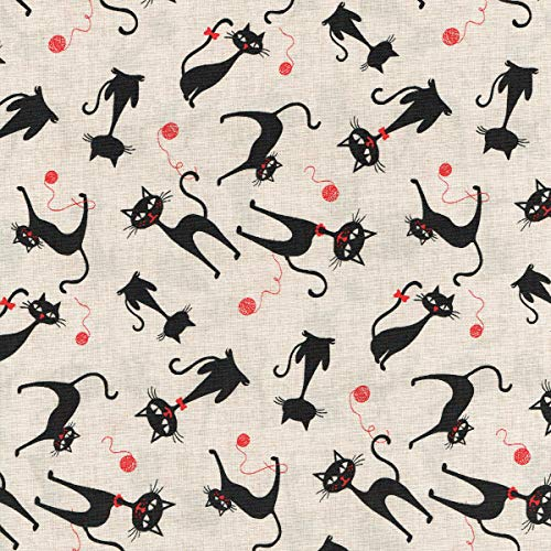 Textiles français Tela Gato descarado 'el Gato Negro' (Color Crudo con Rojo Vino) - 100% algodón Suave | Ancho: 140cm (1 Metro)
