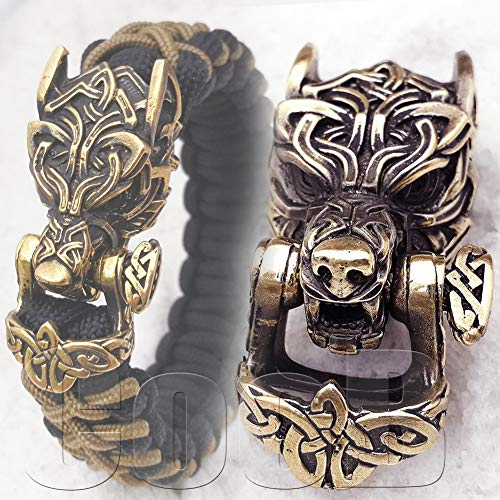CooB EDC Paracord Buckle Shackle Lock Bead Celtic Wolf Fenrir Wolverine - Luxury Metal Hand-Casted Buckles Shackles for Custom Paracord Bracelet Braceletes Making