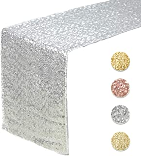 Sequin Table Runners SILVER- 12 X 108 Inch Glitter SILVER Table Runner-SILVER Party Supplies Fabric Decorations For Wedding Birthday Baby Shower
