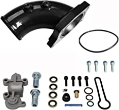 Black Intake Elbow Blue Spring - Fits 2003-2007 Ford 6.0L Powerstroke Diesel 6.0 F250 F350 F450 - DK Engine Parts