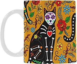 InterestPrint Sugar Skull Cats Mexican Style the Day of the Dead Travel Mug Coffee Cup, 11 Oz Novelty Gift for Magical Occasions for Boys Girls Friends Loves