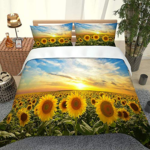 CLQPYQ King Size Bedding Duvet Covers Set For Teenage - 100% Brushed Microfiber Beautiful Sunset Sunflower Garden Duvets Cover Sets 230X220cm With 2 Pillowcases, Super Soft Fluffy Home Bedding Set Qui