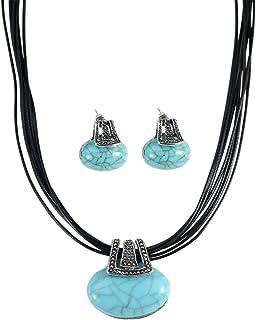 Bobury Retro Nacional Turquesa Colgante Collar Pendientes Juego De Joyería Conjuntos para Las Mujeres