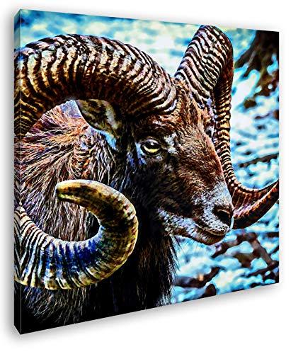 deyoli Ziegenbock mit rießigem Geweih Format: 70x70 Effekt: Zeichnung als Leinwandbild, Motiv fertig gerahmt auf Echtholzrahmen, Hochwertiger Digitaldruck mit Rahmen, Kein Poster oder Plakat