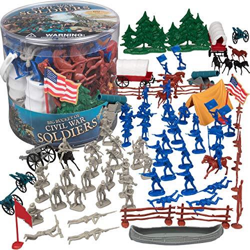 Civil War Army Men Toy Soldier Action Figures - 100+ Pieces, 24 Unique Sculpts - Includes Soldiers, Horses, Cannons, Terrain and More