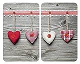 WENKO Plaque de protection en verre universel Coeurs - set de 2, pour tous les types de cuisinières, Verre trempé, 30 x 52 cm, Multicolore