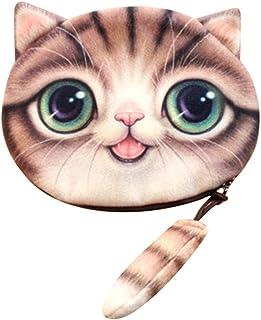 Feitengtd Cute 3D Print Cat Bags Women Girls Tail Plush Coin Purse Change Purse Bag Wallet