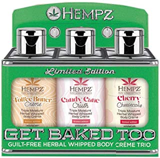 Hempz Lotion Trio Toffee butter, Candy Cane, Cherry Cheesecake Triple Moisture Herbal Whipped Body Creme Set