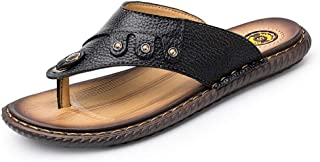 HaiNing Zheng Flip Flops for Men Beach Slippers Slip-on Outdoor Casual Flat Round Toe Quick-Drying Anti-Slip Genuine Leather Studded (Color : Black, Size : 7 UK)
