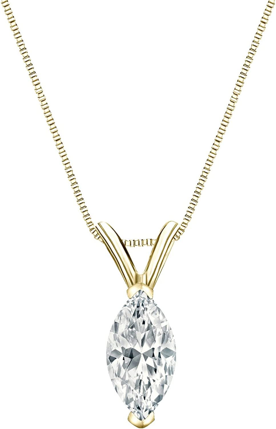 Ranking TOP7 14k Gold V-end Prong Marquise-Cut 1 Diamond Purchase Solitaire Pendant 4