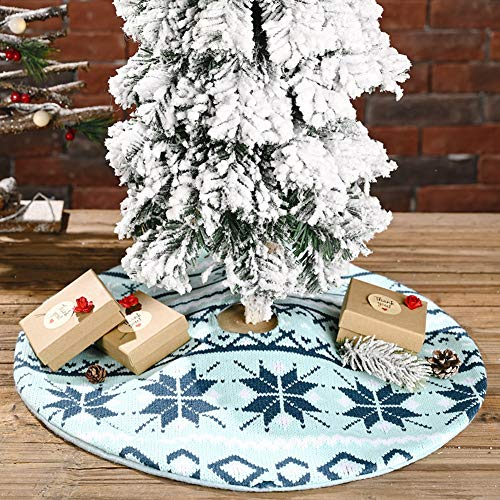 vctops Knitted Christmas Tree Skirt 18 Inch Farmhouse Snowflake Pattern Lightweight Small Xmas Tree Skirt Festival Holiday Decorations (Blue,Diameter 18')