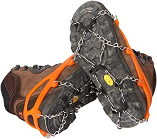 Flyme 1 Pair 8 Tooth Climbing ice Grippers crampons Snow ice Cleat Anti-Skid Shoe Cover for Outdoor Camping Mountaineering (Orange L)