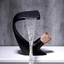 Zwarte kraan, wastafelkraan in de badkamer, warme en koude kraan, badkraan met één gat op het dek geïnstalleerd, chromen k...