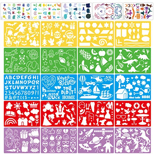 Stencil Drawing Kit for Kids, 25 Pcs Plastic Drawing Stencils with 400+ Shapes, Great Birthday Gift for Boy Girl
