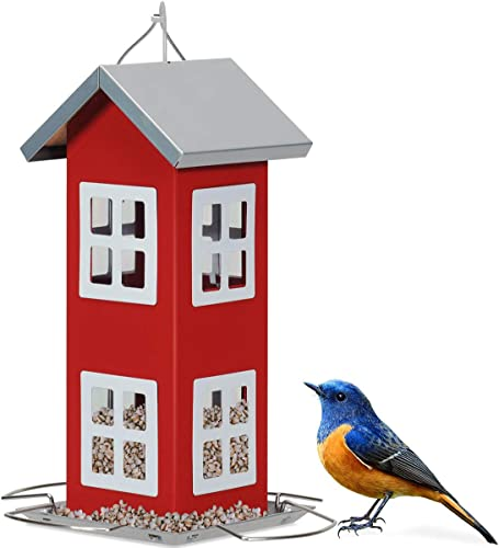 lowest Giantex sale Wild Bird House Feeder, Weatherproof Bird Feeder for Outside, Easy to Clean & Refill Food, Comes with Hanging Cord, Suitable for Backyard, Garden lowest & Window Sill, Hanging Bird Feeder (Red) outlet sale