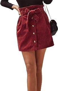 Geagodelia - Gonna da donna in velluto a coste tinta unita con elastico in vita mini gonna con cintura tasca bottone a cin...