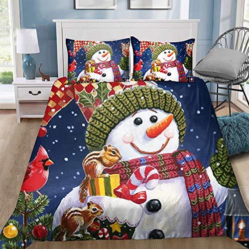 Jilijia Juego de ropa de cama de Navidad con diseño de Papá Noel, muñeco de nieve, reversible, ligera, colcha para decoración de dormitorio para vacaciones de Navidad