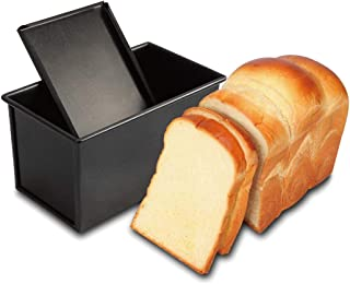 CAN_Deal Loaf Pan With Cover/Bread Baking Mould Cake Toast/Non-Stick Toast Box with Lid For 450g Dough, Vented Hole for Rapid Baking, Made from Heavy-gauge Carbon Steel (Smooth Style)