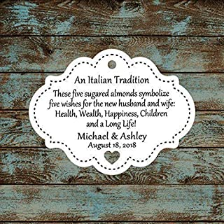 Personalized Jordan Almond Tags, Sugared Almond Tags, Italian or Greek Wedding Reception Favor Tags, Qty: 30 Tags #613