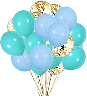 Kubert Pastel Blue Balloon, Blue Gold & Gold confetti Balloons for Boy Arch Wedding Bridal Shower Birthday Party Baby Show...
