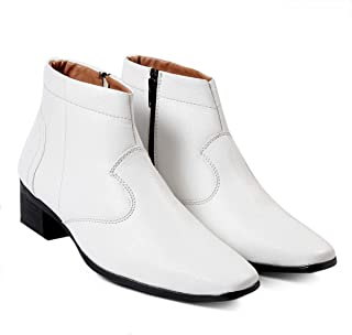 BXXY Mens White Faux Leather Height Increasing Formal Slip-On Boots on Cuban Sole