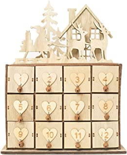 Jytrading Christmas Calendar, Wood Construction House Elk Calendar for Gift Jewelry Holder Storage Box Sundries Organizer