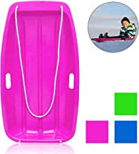 """Soosi Plastic Snow Sleds for Kids and Adult, 35""""Snow Sled Snow Slider Toboggan Sled for Toddlers with 2 Handles and Pull Ropes for Outdoor Winter Slider Downhill Snow Board,Blue-35"""