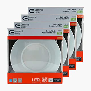 Commercial Electric 5 in. and 6 in. White Recessed LED Trim with 2700K, 90 CRI (Pack of 4)