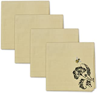 Design Imports Busy Bees Embroidered Cotton Table Linens Napkins 20-Inch by 20-Inch, Set of 4