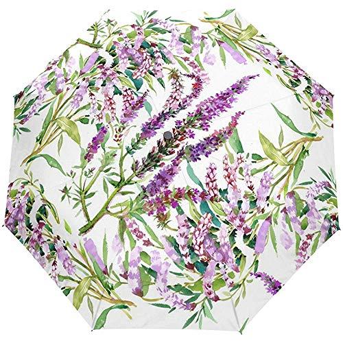 Aquarell Blumen Winddichte Regenschirme Auto Open Close 3 Faltbarer Sonnenschirm-57-C0