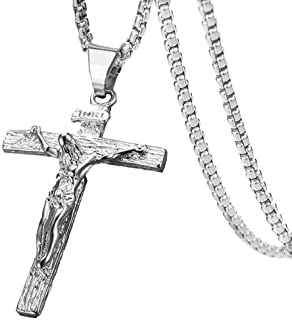 Axmerdal Stainless Steel Cross Necklace Jesus Christ Crucifix Cross Lord's Prayer Pendant for Men&Women 24 iNCH Box Chain (Silver)