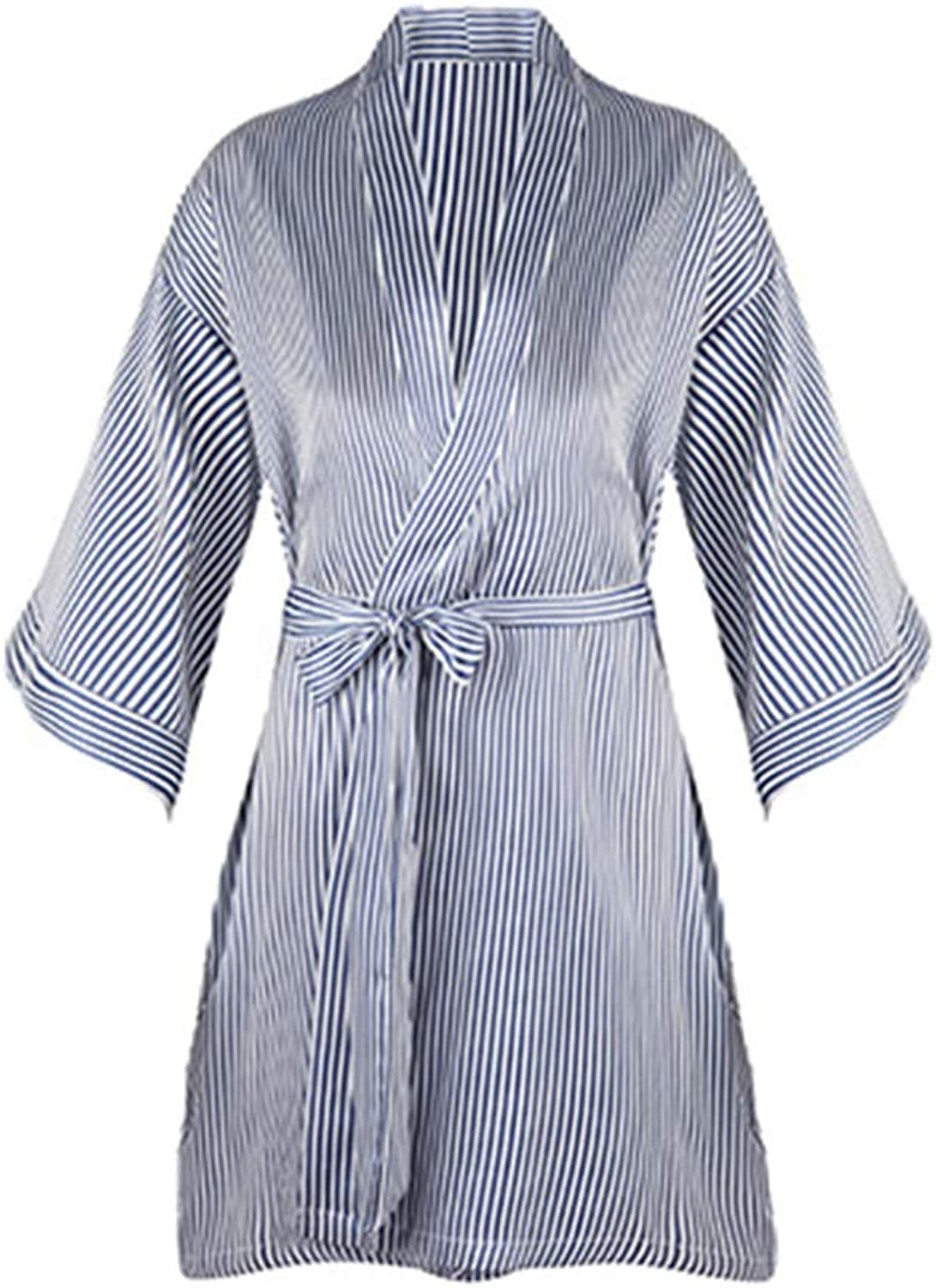 LIULIFE Dressing Gown Lady's Nightgown Striped Loose Bathrobe Summer Thin Nightdress Cardigan Casual Housecoat