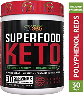 Superfood Vital Reds Keto by Feel Great 365 - Doctor Formulated Ketosis Supplement with Over 50 Superfoods, No Sugar Added, No Stevia, Vitamins, Fruits, Veggies, Probiotics, Digestive Enzymes