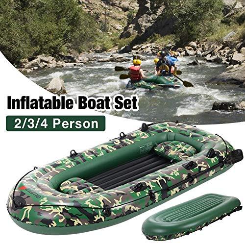 2-4 Personen Schlauchboot, 10ft Schlauchboot Floß, langlebiges 3-Lagen PVC Schlauchboot Set mit Paddel Luftpumpe, Drifting-Angeln