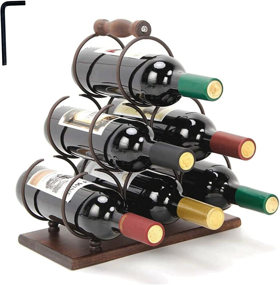 DOMINTY Countertop Wine List price Rack Tabletop Wood 3 Tiers Easy-to-use Holder