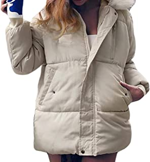 Womens Hooded Pockets Long Sleeve Casual Down Thicken Overcoats Outwear Tops