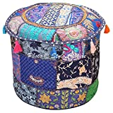 Stylo Culture Osmanische Hocker Hocker Stoffbezug Vintage Marineblau Ethnische bestickte Patchwork Baumwolle Traditionelle runde Hocker Ottoman Cover (18x18x13 Zoll) 45 cm
